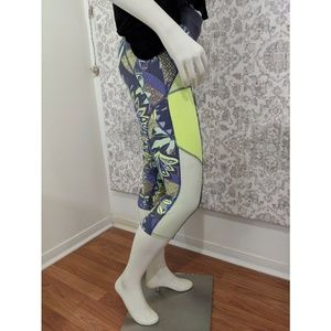 Maaji printed blue Green Cropped Workout Leggings